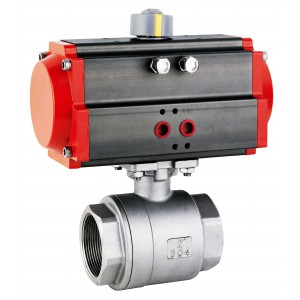 Válvula de bola de acero inoxidable de 3/4 de pulgada DN20 con actuador neumático AT40