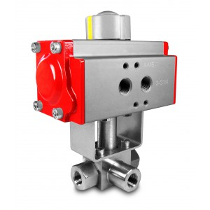 Válvula de bola de 3 vías de alta presión 1 pulgada SS304 HB23 con actuador neumático AT75