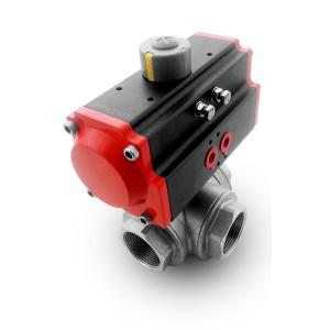 Válvula de bola de acero inoxidable de 3 vías DN40 1 1/2 pulgada con actuador neumático AT75