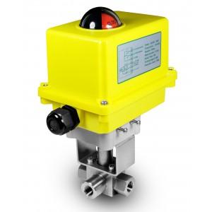 Válvula de bola de 3 vías de alta presión 3/8 pulgadas SS304 HB23 con actuador eléctrico A250