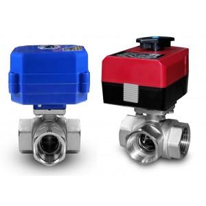 Válvula de bola de 3 vías de 1 pulgada con actuador eléctrico A80 o A82
