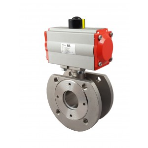 Válvula de bola de acero inoxidable con brida DN25 con actuador neumático AT52