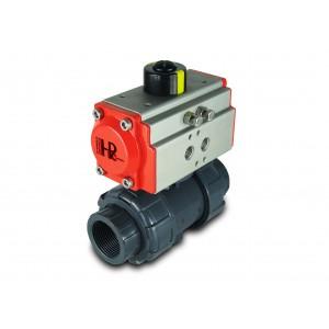 Válvula de bola UPVC 2 1/2 pulgadas DN65 con actuador neumático AT75