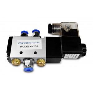 Electroválvula 5/2 4V210 1/4 pulgada para cilindros neumáticos + conectores 8mm