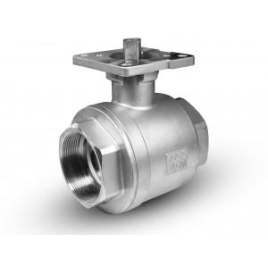 Válvula de bola de acero inoxidable 2 1/2 pulgada DN65 PN40 placa de montaje ISO5211