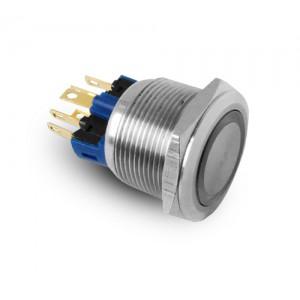 Botón 22mm acero inoxidable IP65 LED 230V o 24V azul momentáneo