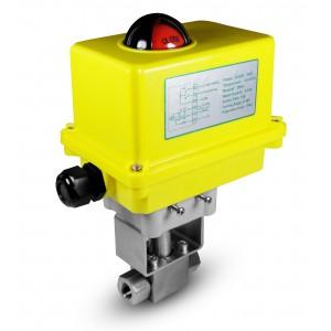 Válvula de bola de alta presión 1/4 pulgadas SS304 HB22 con actuador eléctrico A250
