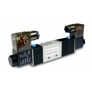 Válvula solenoide 5/3 4V230E 1/4 pulgada para cilindros neumáticos 230V o 12V, 24V