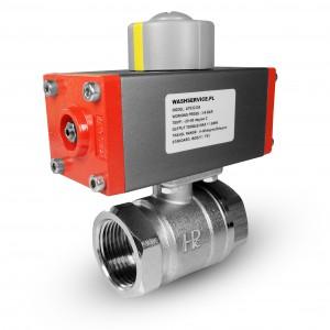 Válvula de bola de latón de 3/4 de pulgada DN20 con actuador neumático AT32