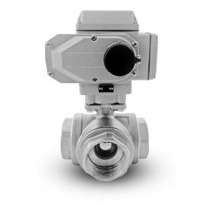 Válvula de bola de acero inoxidable de 3 vías 1 1/2 pulgada DN40 con actuador eléctrico A500