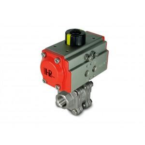 Válvula de bola de acero inoxidable 1/2 pulgada DN15 PN125 con actuador neumático AT40
