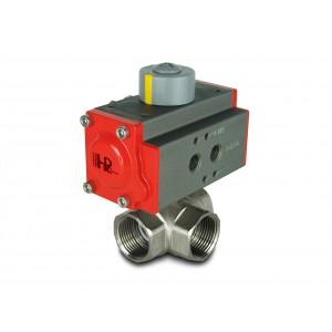 Válvula de bola de latón de 3 vías DN25 de una pulgada con actuador neumático AT40