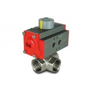 Válvula de bola de latón de 3 vías 1 1/4 pulgada DN32 con actuador neumático AT40